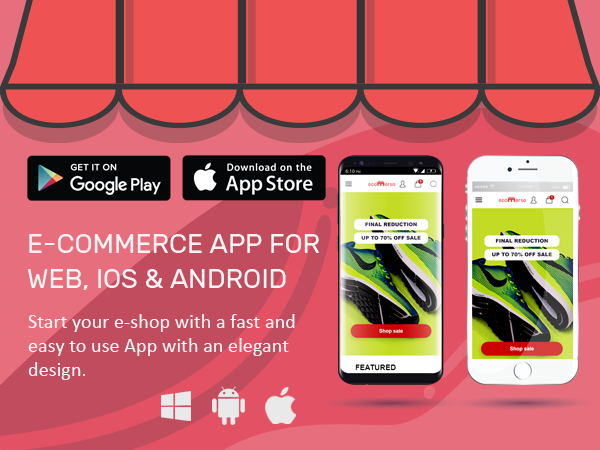 Ecommerce Native App for Android, iPhone and Web